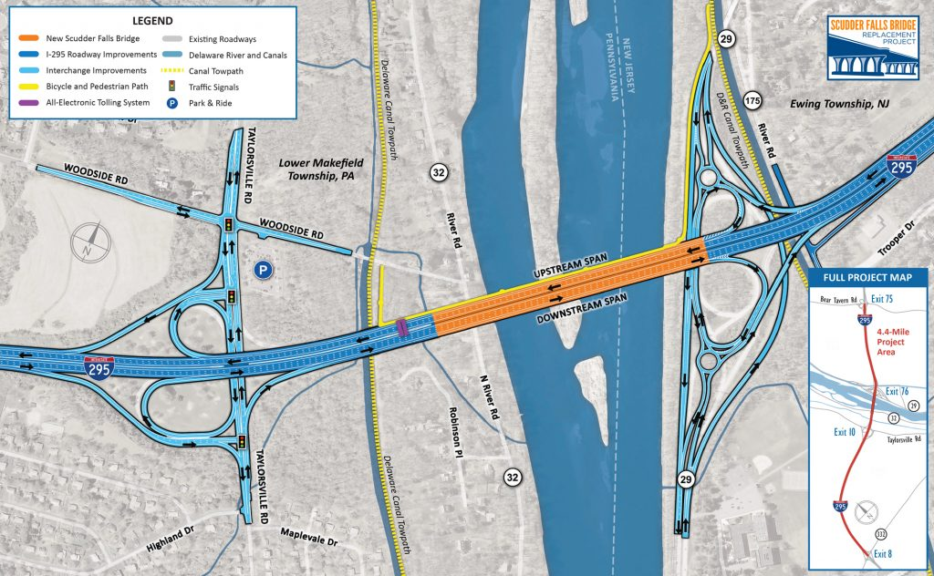 Delaware Traffic Map.Construction Scudder Falls Bridge Replacement Project